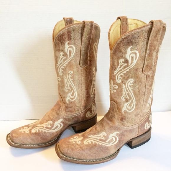 e2844dc77d0 Corral Cortez Distressed Fleur-De-Lis Cowgirl Boot NWT